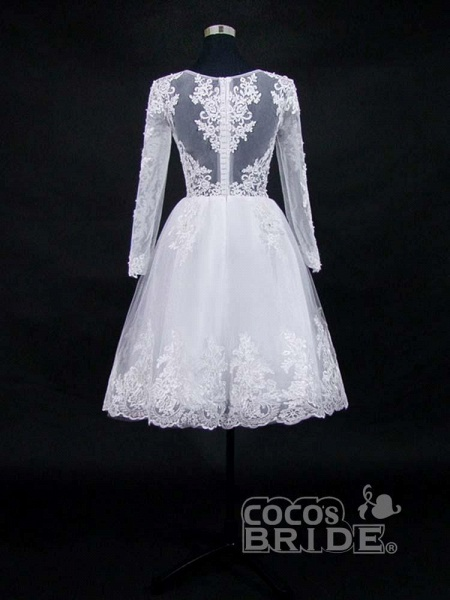 Lace Appliques Pearls Long Sleeves Wedding Dresses_3