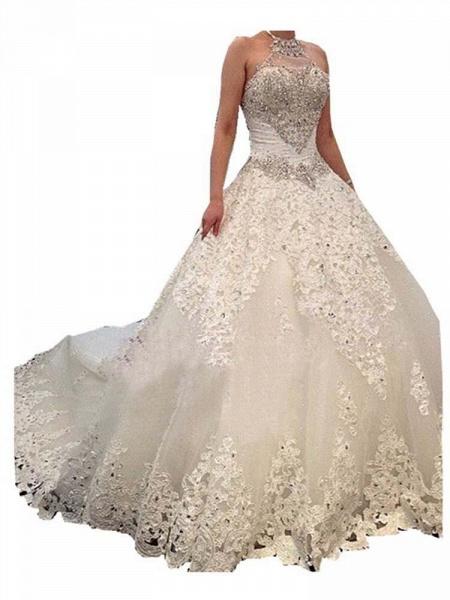 Elegant Halter Lace Sashes Ball Gown Wedding Dresses_1