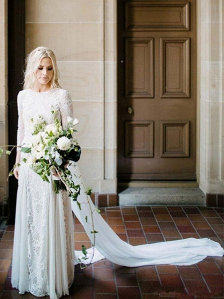 Long Sleeves Backless Floor Length Lace Wedding Dresses_1