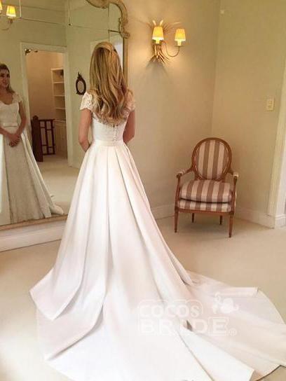 V-Neck Short Sleeve Lace Satin A-Line Wedding Dresses_2