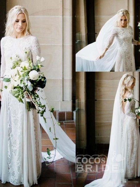 Long Sleeves Backless Floor Length Lace Wedding Dresses_5