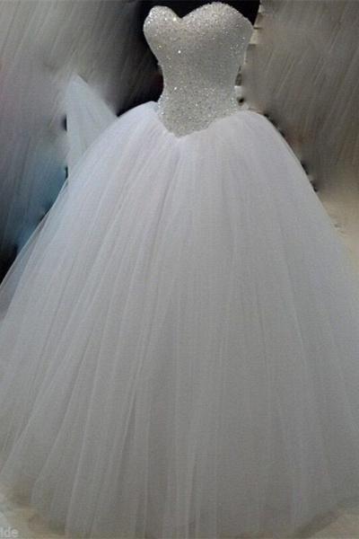 White Organza Sweetheart Sequins Beading Wedding Dress_1