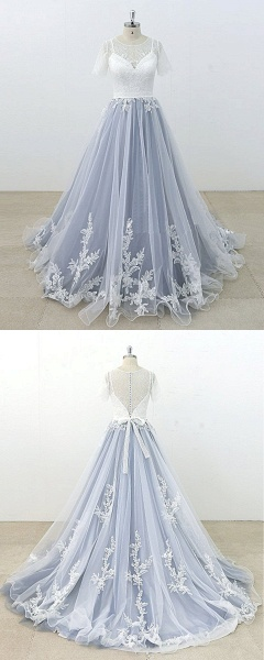 Blue Gray Tulle Ivory Lace Short Sleeve Beach Wedding Dress_4