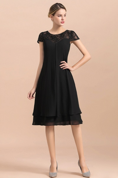 Chiffon Black Cap Sleeve Short Mother of Bride Dress_4