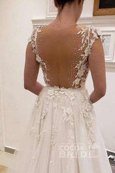 Simple Tulle Lace Illusion Back A-Line A Line V Neck Wedding Dress_2