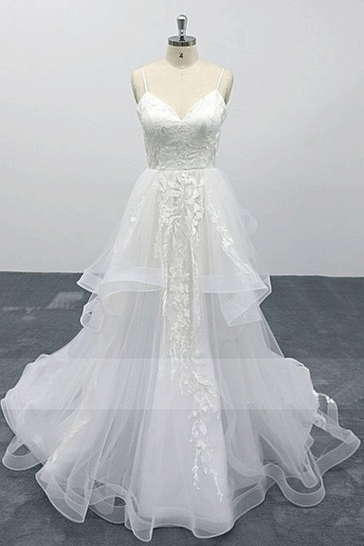 White Lace Layered A Line Thin Straps Fairytale Wedding Dress_1