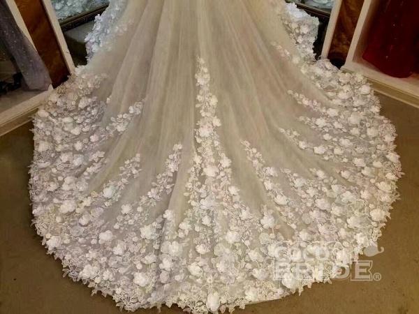 Gorgeous Sleeveless Ball Gown Appliques Flowers Court Train Wedding Dress_3
