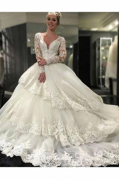 Ivory Deep V-Neck Long Sleeves Lace Appliques Chapel Train Tiered Wedding Dress_2