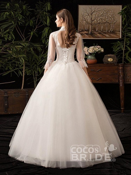 Gorgeous High Collar 3/4 Sleeve Lace-Up Ball Gown Wedding Dresses_4