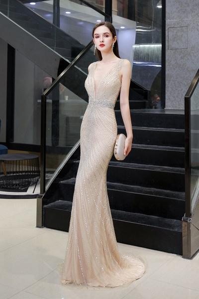 Sexy Mermaid V-neck Silver Long Prom Dress_15