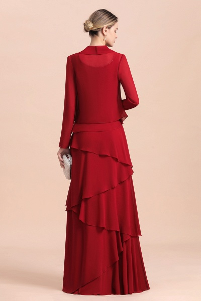 Elegant Burgundy Ruffles Chiffon Mother of the Bride Dress With Jacket_3