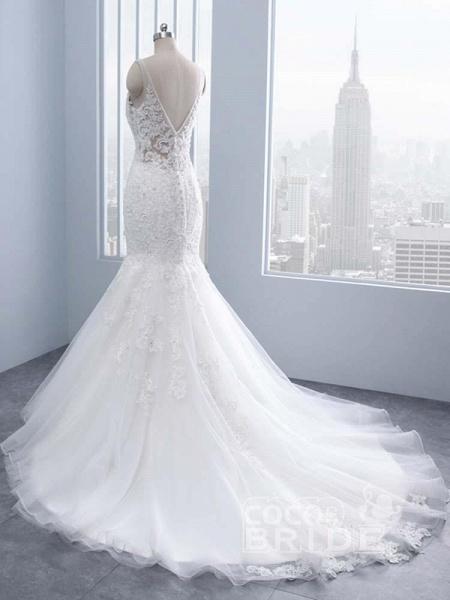 Elegant V-neck Lace Mermaid Wedding Dresses_4