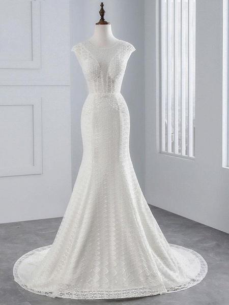 Elegant Cap Sleeves Lace-up Mermaid Wedding Dresses_1