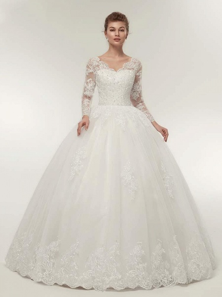 Long Sleeves V-Neck Ball Gown Lace Wedding Dresses_1