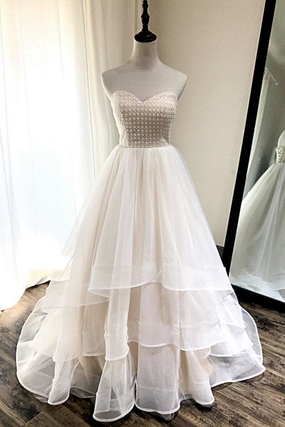 Ivory Tulle Sweetheart Neck Crystal Long Layered Wedding Dress_1