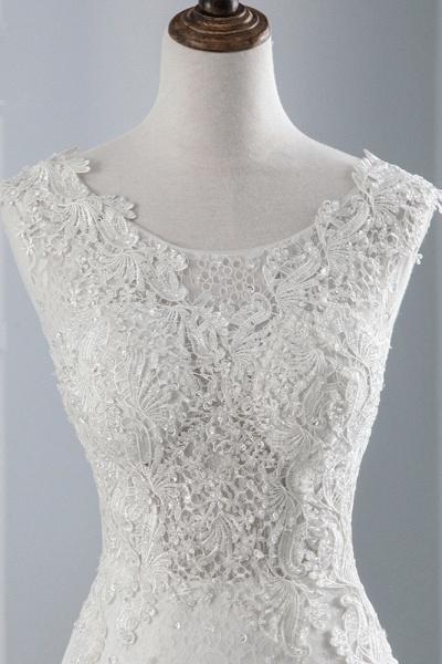 Glamorous Long Mermaid Jewel Tulle Sleeveless Wedding Dress with Appliques Lace_5