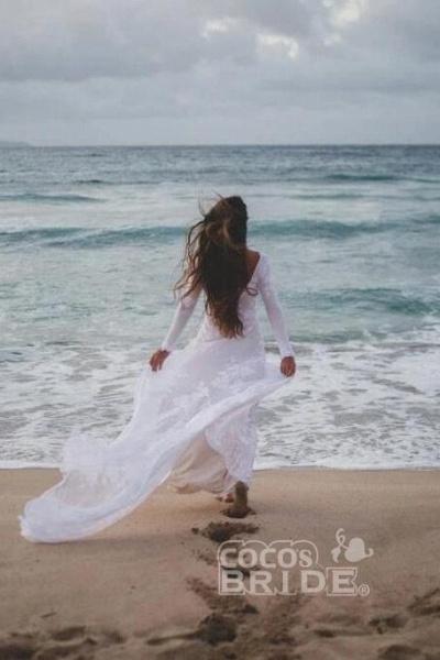 Ivory Long Sleeve Rustic Backless Sheath Beach Wedding Dress_3