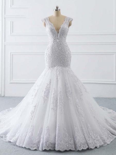 V-Neck Mermaid Lace Wedding Dresses_1