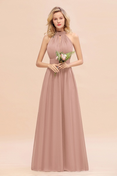BM0758 Glamorous High-Neck Halter Bridesmaid Affordable Dresses with Ruffle_6
