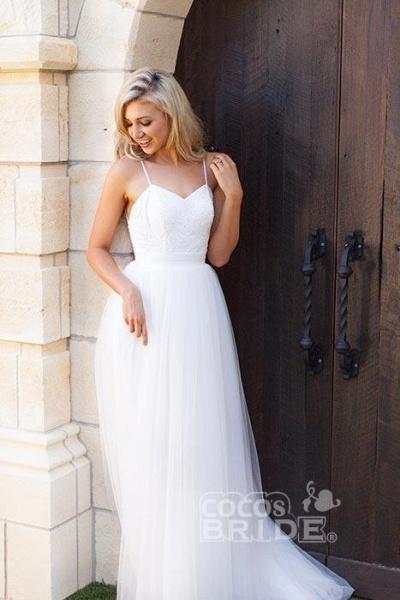 Hot Summer Boho Beach Tulle Spaghetti Straps Wedding Dress_3