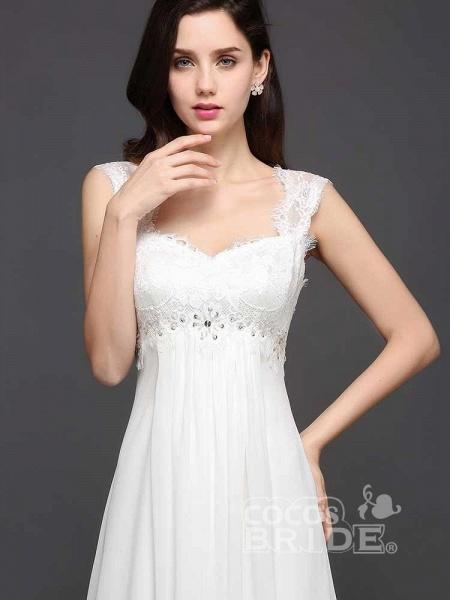 Elegant Square Beaded Ruffles Wedding Dresses_3