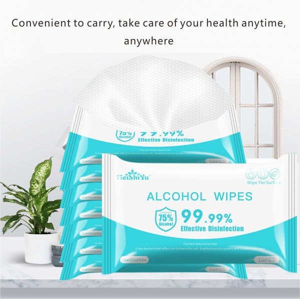 10pcs/Pack Disinfection 75% Portable Alcohol Swabs Pads Wipes_4