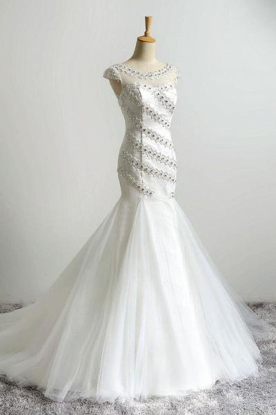 White Organza Beading Mermaid Train Wedding Dresses_1