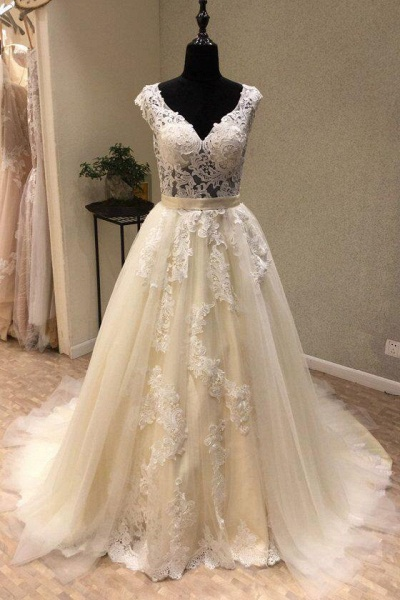 Ivory Tulle Lace V Neck Long Cap Sleeve Ivory Wedding Dress_1