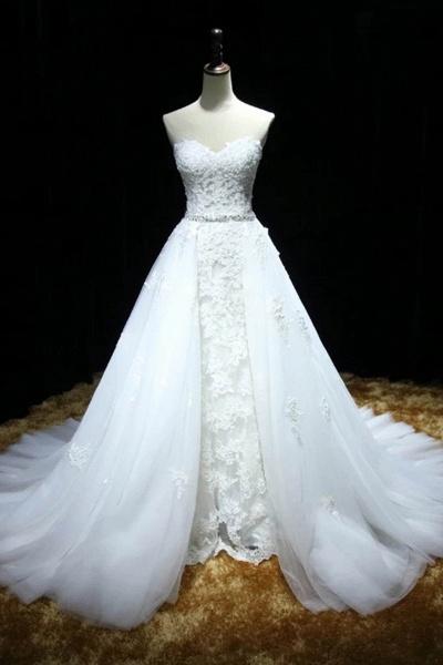 White Organza Sweetheart Lace Floor-Length Wedding Dress_1