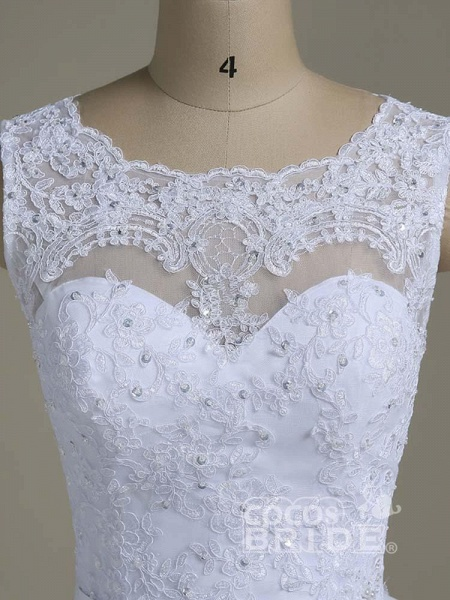 Elegant Jewel Lace Ball Gown Wedding Dresses_4