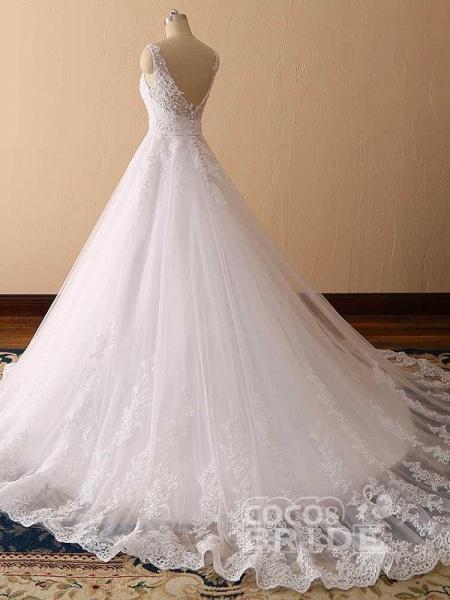 Gorgeous Spaghetti Strap V-Neck Backless Wedding Dresses_3