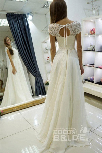 A-line Beach Gown Sweep Train Cap Sleeves Wedding Dress_2