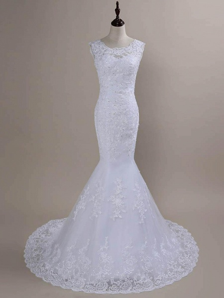 Beaded Lace Backless Mermaid  Wedding Dresses_1