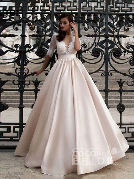 Vintage Half Sleeves Lace Satin Wedding Dresses_2