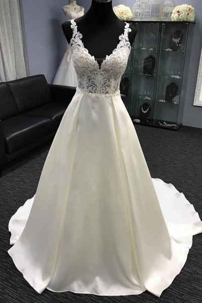 White Satin V Neck Long Halter A-Line Wedding Dress_2