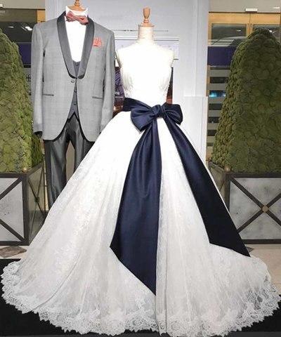 Sweetheart White Lace Long Wedding Dress_2