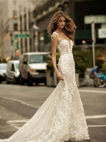 Spaghetti Strap Floral Applique Covered Button Mermaid Wedding Dresses_1