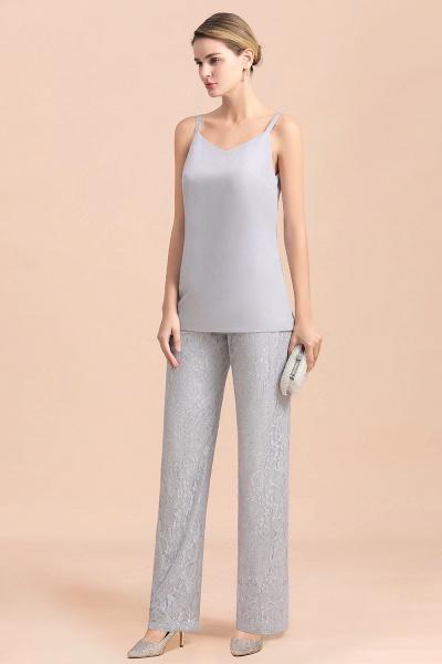 V-Neck Straps Appliques Silver Lace Wraps Mother of Bride Jumpsuit_9