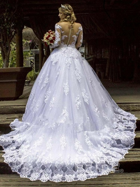 Luxury Long Sleeves Lace Ball Gown Wedding Dresses_2