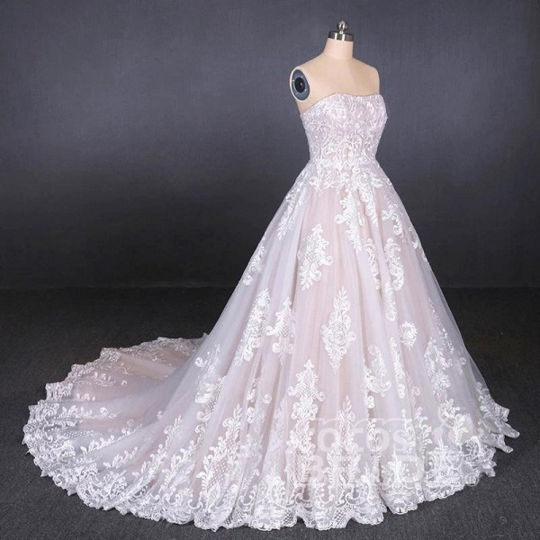 Puffy Strapless Tulle with Appliques Long Train Lace Up Wedding Dress_4