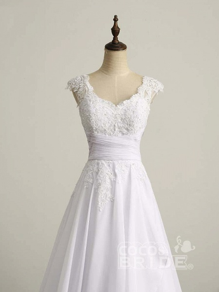 Appliques V-Neck Lace-Up Chiffon Wedding Dresses_3