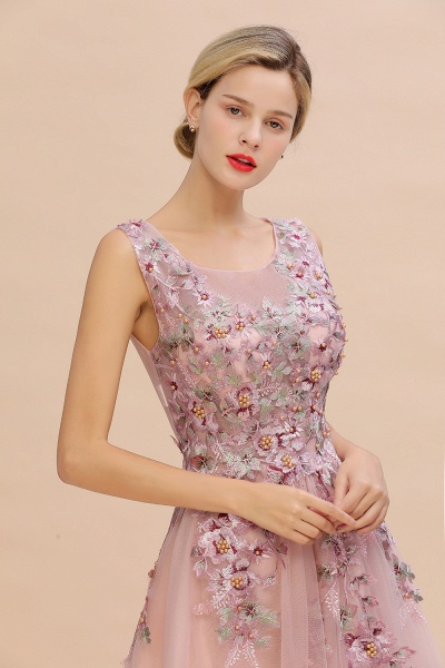Gorgeous Dusty Pink Tulle Long Lace Appliques Prom Dress_6