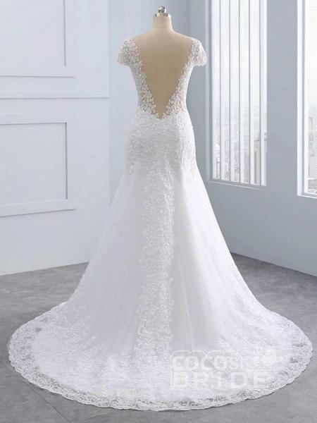 Cap Sleeves Lace Mermaid Tulle Wedding Dresses_3