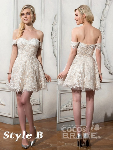 Lovely Lace Mermaid Wedding Dresses With Detachable Skirts_5