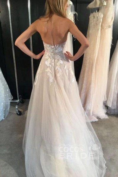 Ivory Strapless Tulle Long Beach Sexy Lace Appliqued Wedding Dress_2