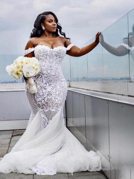 Modest Plus Size Off-the-Shoulder Mermaid Wedding Dresses_1