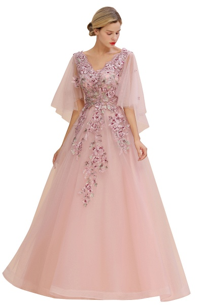 Dusty Pink Tulle Short Sleeve Long Prom Dress_8