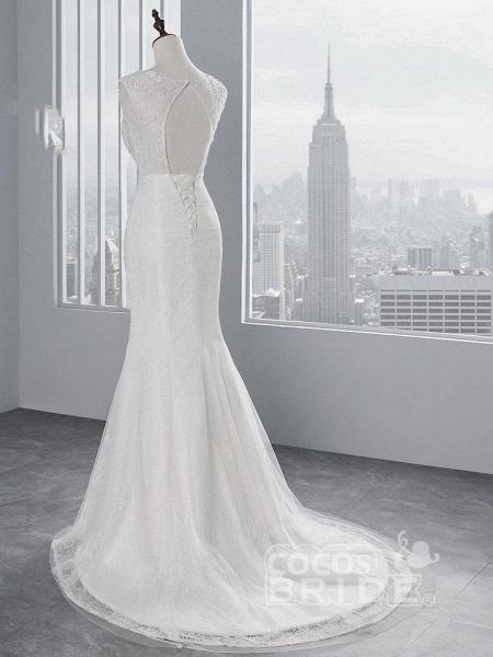 Elegant Lace Appliques Mermaid Pleated Wedding Dresses_4