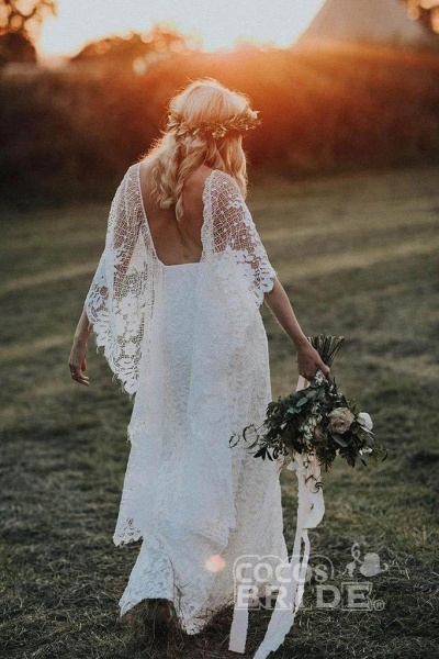 Ivory Boho with Batwing Sleeve Lace Rustic Backless Wedding Dress_5