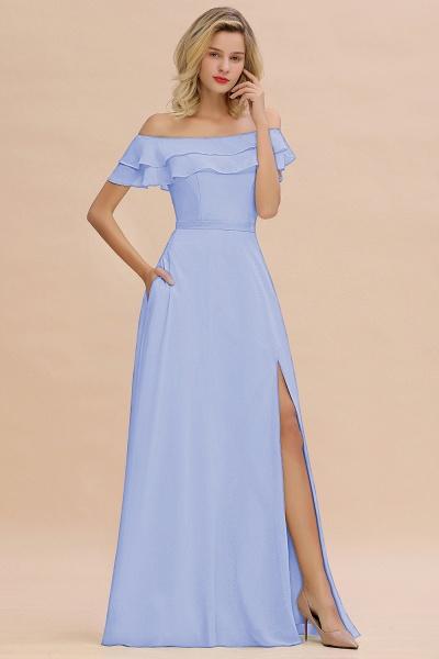 BM0775 Off-the-Shoulder Front Slit Mint Green Long Bridesmaid Dress_22